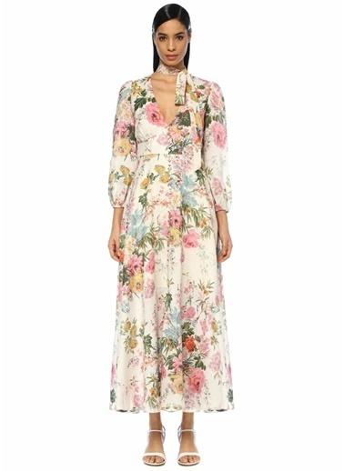 Zimmermann Çiçekli Maksi Keten Elbise Renkli